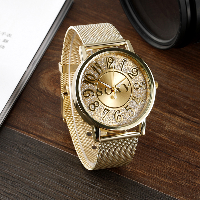 SOXY Women Gold Mesh Belt Big Number Dial Wristwatches Fashion Casual Womens Stainless Steel Quartz Watches Relogio Feminino