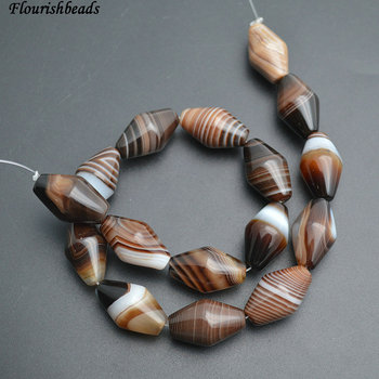 15x25mm Banded Coffee Color Agate Cone Bullet Shape Stone Loose Beads