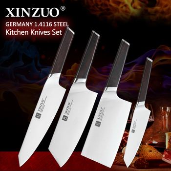 XINZUO 4PCS Cooking Kitchen Knives Set High Carbon Stainless Din 1.4116 Steel Bone Chopper Chef Meat Utility Knives Ebony Handle