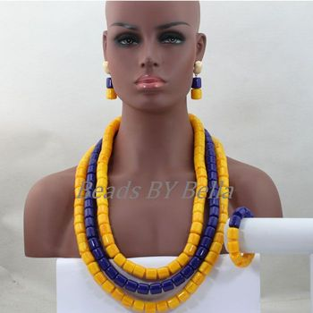 Exclusive Yellow Mix Blue African Fashion Beads Necklace Set Acrylic Beaded Women Jewelry Set Long Necklace Free Shipping ABL105