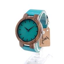 BOBO BIRD C28 Best Selling Zebra Wood Quartz Wristwatch With Blue Genuine leather Japanese Movement As Gift