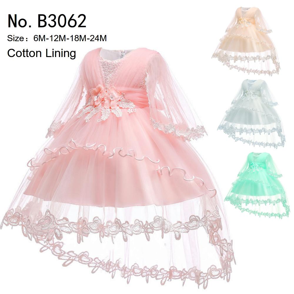 9b75b81f987d Free Shipping Cotton Lining Infant Dresses 2019 New Style Ivory Baby ...