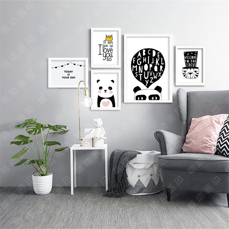 M9 Panda Modern Printings Wall Decor Back White Digital Poster Canvas Picture Art Paintings Quadro Nursery Kids Room In Painting Calligraphy