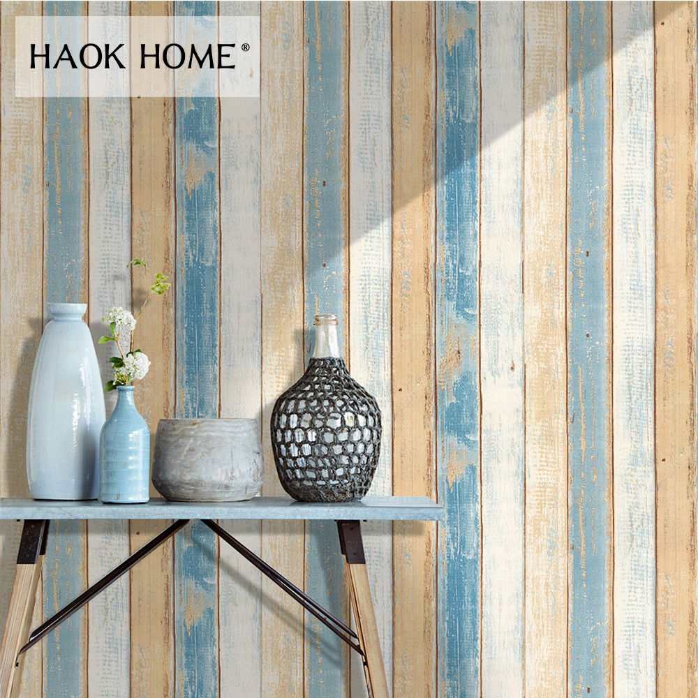 HaokHome 3d Wood Plank Wallpaper self adhesive 0.45m*6m Vinyl Rolls Beige/Blue For Living room Bathroom Kitchen home decoration haokhome 3d rustic wood grain vinyl self adhesive wallpaper rolls tan brown black living room study room wall papers home decor