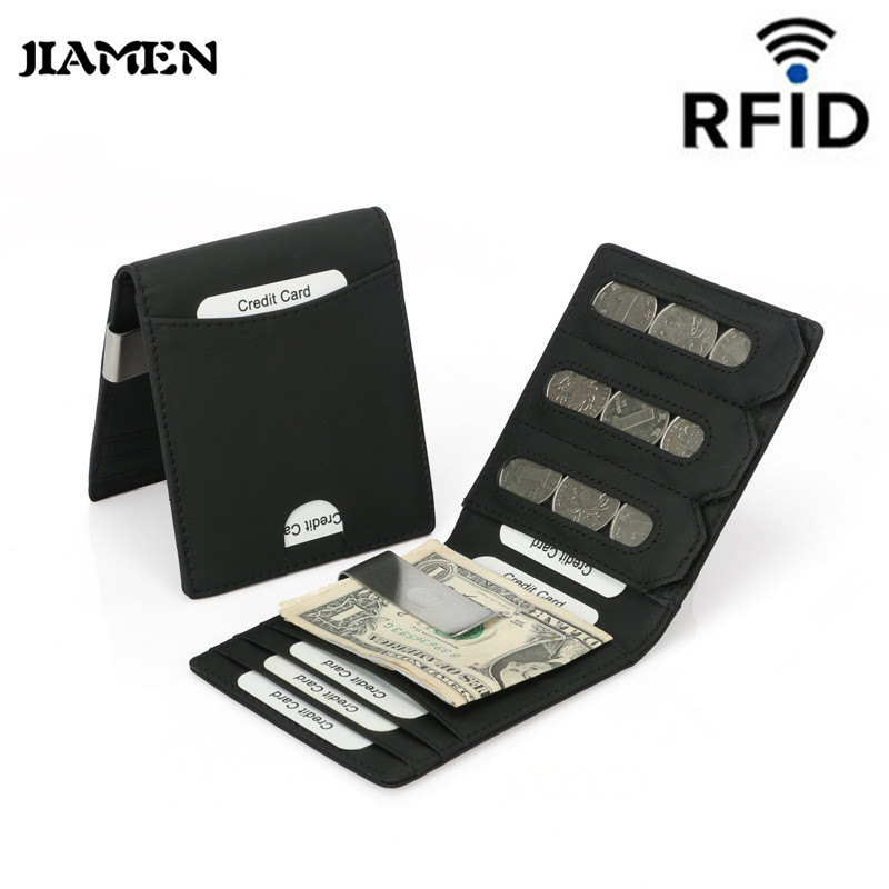 JIAMEN New Genuine Leather Wallet Super Slim Card Holder Card Case Money Organizer Men Wallets Clutch Dollar Clip Coin Wallet