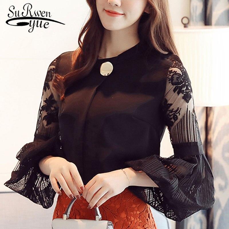 2019 new lantern sleeve fashion women's clothing casual chiffon women   blouse     shirt   solid stand collar women tops blusas D79 30