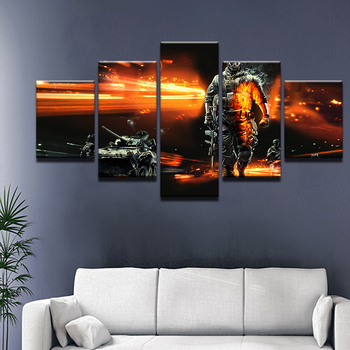 5 Panel BattleField 3 Shooting Game Modern Home Wall Decor Canvas Picture Art HD Print Painting On Canvas For Living Room