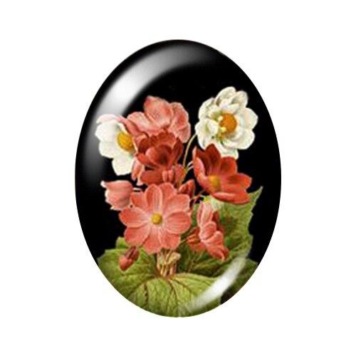 Красивые Винтажные Цветы Роза Маргаритка 10 шт. 13x18 мм/18x25 мм/30x40 мм овальные фото стекло кабошон демонстрационная плоская задняя часть изготовление TB0043 - Цвет: A