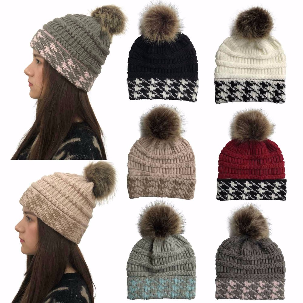 Fashion Faux Fur Pom poms   Beanie   Women Winter Hats Houndstooth Crochet Knitted Ski Cap   Skullies     Beanies   Warm Caps for Ladies