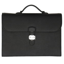 A4 bolso de cuero genuino cuero bolso maletín Padfolio Gerente de carpeta de archivo de documento organizador con asas llave 1309A