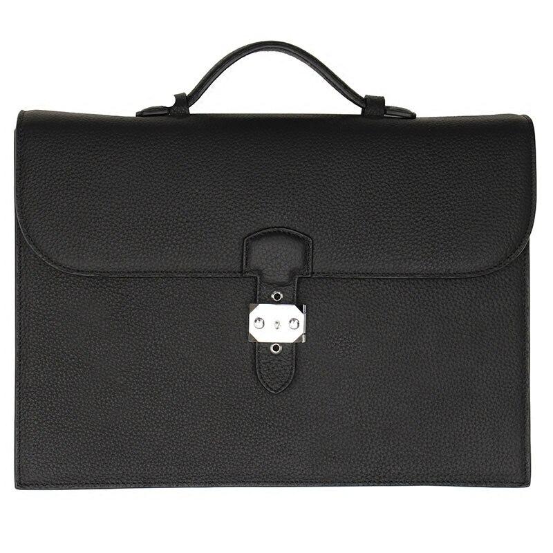 A4 sac à main en cuir véritable mallette d'affaires Padfolio Manager sac dossier organisateur de Document avec poignées serrure à clé 1309A