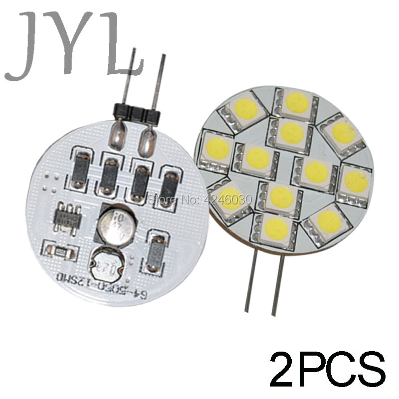 JYL 2pcs G4 12 5050 SMD Cabinet Marine Boat Reading LED Light Bulb Lamps Spot light 160-180lm 2W DC/AC10V-24V Warm White / White