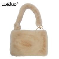 WELLVO Frauen Winter Weiche Kunstpelz Handtasche Weiblichen Kleine Umschlag Schulter Taschen Plüsch Messenger Taschen für Mädchen Neu Gestalteten XA88WB