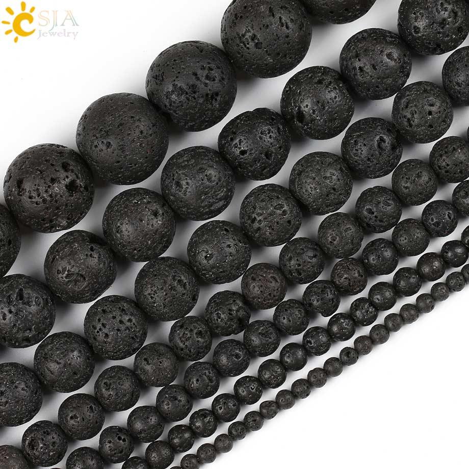 Black Natural Stone : Csja diy jewelry making round natural stone black lava