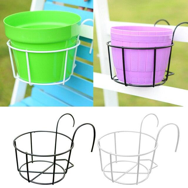 garden hooks. Behokic Metal Round Plants Flower Pot Holder With Hooks For Garden Balcony Railings Supplies O