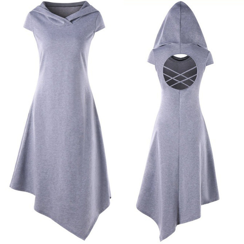 Plus Size Gothic Medieval Style Hooded Dress Backless Hollow Out Irregular Summer Casual Sleeveless Dress Ladies Dress