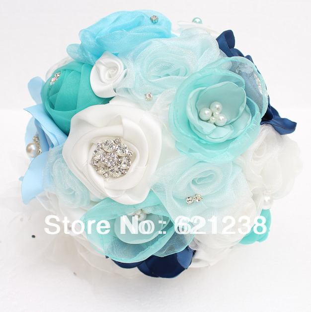Ems free shippingnavy blue custom holding flowers bridal bouquets ems free shippingnavy blue custom holding flowers bridal bouquets blue wedding preferred fabric bouquet in wedding bouquets from weddings events on mightylinksfo