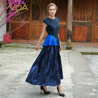 VOA Women Silk Vintage Dress 2017 Summer Fashion Short Sleeve Splicing Temperament Princess Party Style Maxi Dress ALX01601