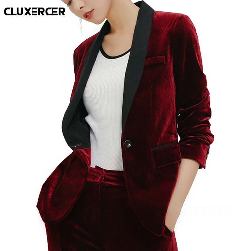 Spring Autumn Velvet Blazer Women Slim Long Sleeve Ladies Blazer Feminino OL Formal Work Small Suit Jacket Women Blazer Feminino
