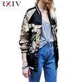 RZIV bordado jaqueta casaco 2016 mulheres lembrança Guindaste lazer Desgaste de ambos os lados jaqueta senhoras