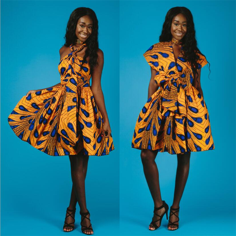 Sexy peacock printed evening african dresses for women ...