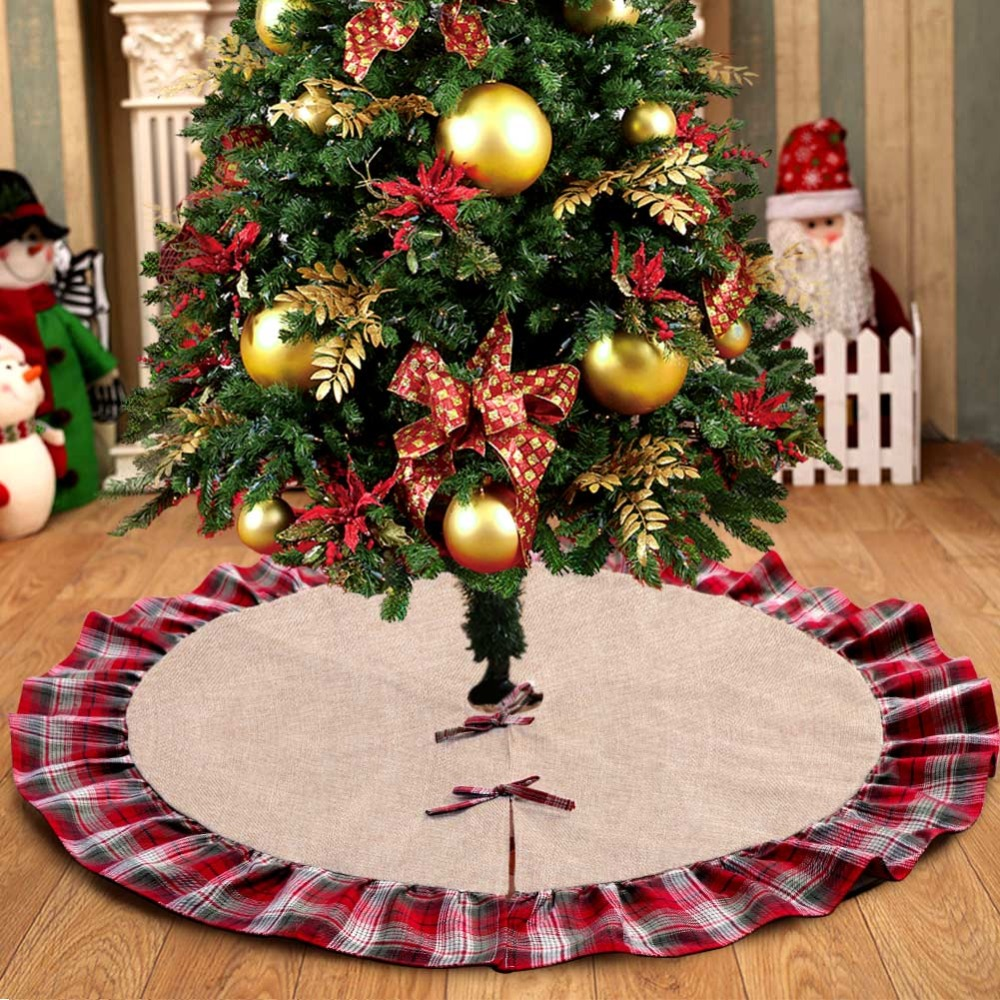 Burlap And Red Christmas Tree: Ourwarm Pastoral Style Christmas Tree Skirts 48inch Burlap