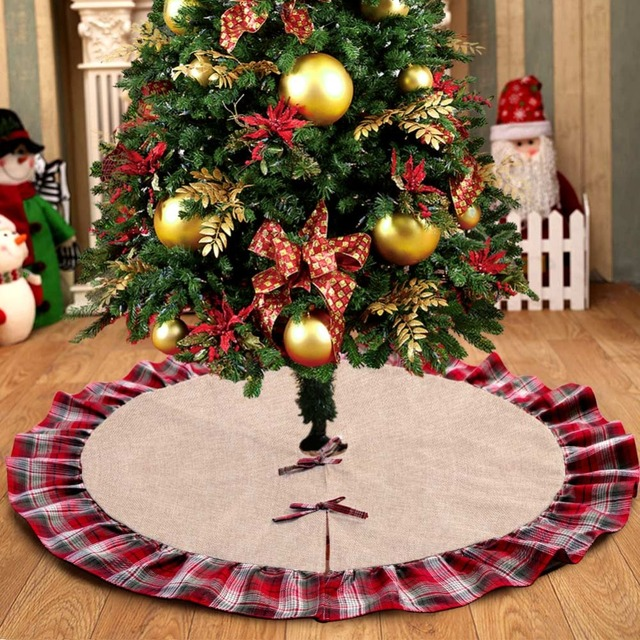 ourwarm pastoral style christmas tree skirts 48inch burlap black and red plaid ruffle edge christmas tree - Red And Black Plaid Christmas Decor