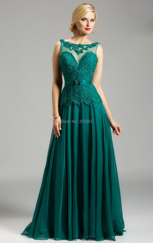 ONE180 Elegante Spitze Top Chiffon Backless Emerald Green Abendkleid ...