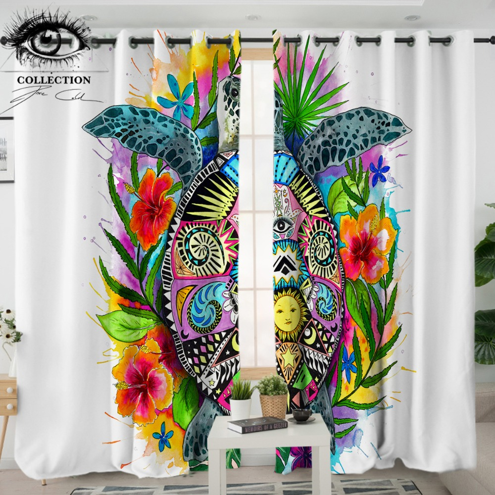 Turtle Life by Pixie Cold Art Bedroom Curtain Tortoise Bohemian Blackout Curtain for Living Room Kitchen Floral Colorful DrapesTurtle Life by Pixie Cold Art Bedroom Curtain Tortoise Bohemian Blackout Curtain for Living Room Kitchen Floral Colorful Drapes