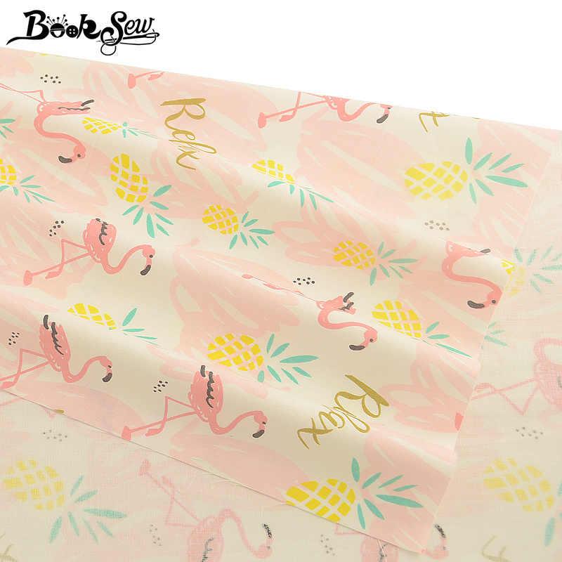 Booksew 100% хлопок розовый саржевая стеганая ткань телас де альгодон Para Лоскутная Ткань с принтом красно-Коронная крановая ткань