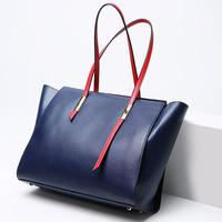 Natural cowhide women handbag genuine leather bags trapeze large capacity shoulder handbag ladies messenger bags casual tote new