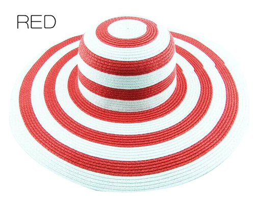 Полосатые летние шляпы от солнца для женщин, модные уличные большие пляжные соломенные шляпы, новейшие повседневные женские кепки - Цвет: RED