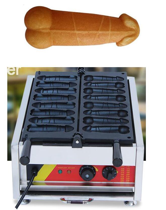 Free shipping Electric 8 Pcs gayke machine/ Penis shaped hot dog machine/ Big cock Waffle maker free shipping 6 pcs dounts making machine with recipe waffle grill