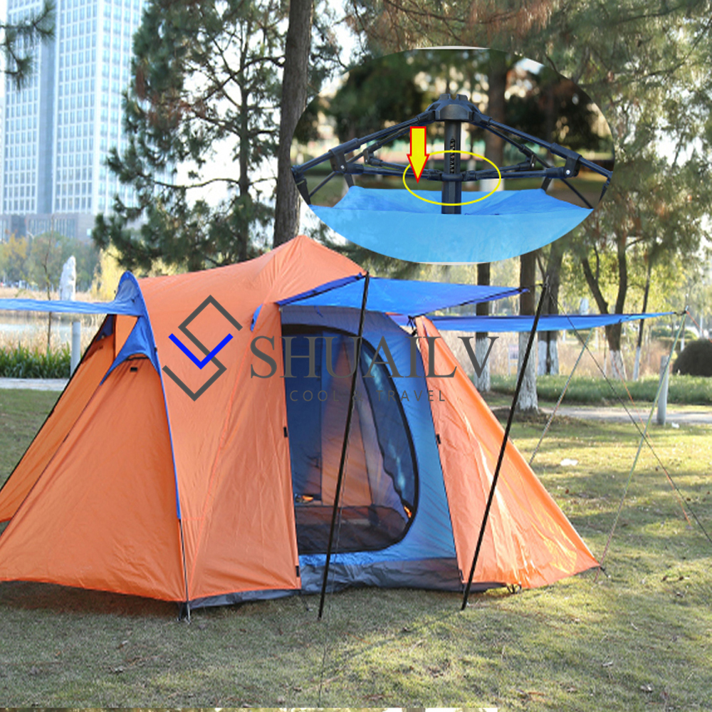 Outdoor Picnic Quick Opening Travel Tent Automatic Camping Awning Tents 4 Doors 4-5 People Camping Fishing Tent Garden Tents