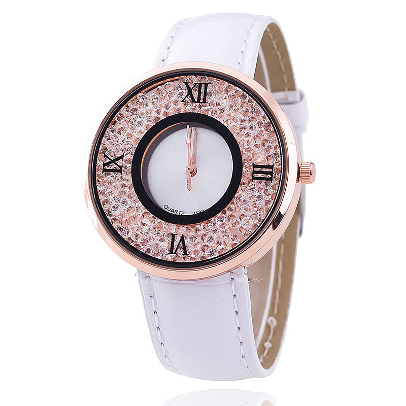 Vansvar Brand Fashion Women Rhinestone Watches Luxury Leather Women Dress Watch Casual Quartz Watches Relogio Feminino 613 3