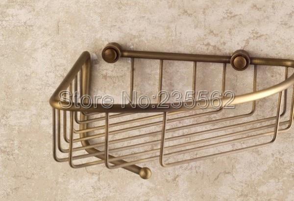 Comprar Baño antiguo Accesorios pared Jabones y Cuerpo lavado grande ducha de almacenamiento cesta acabado latón lba078 de bathroom accessories fiable proveedores en eway