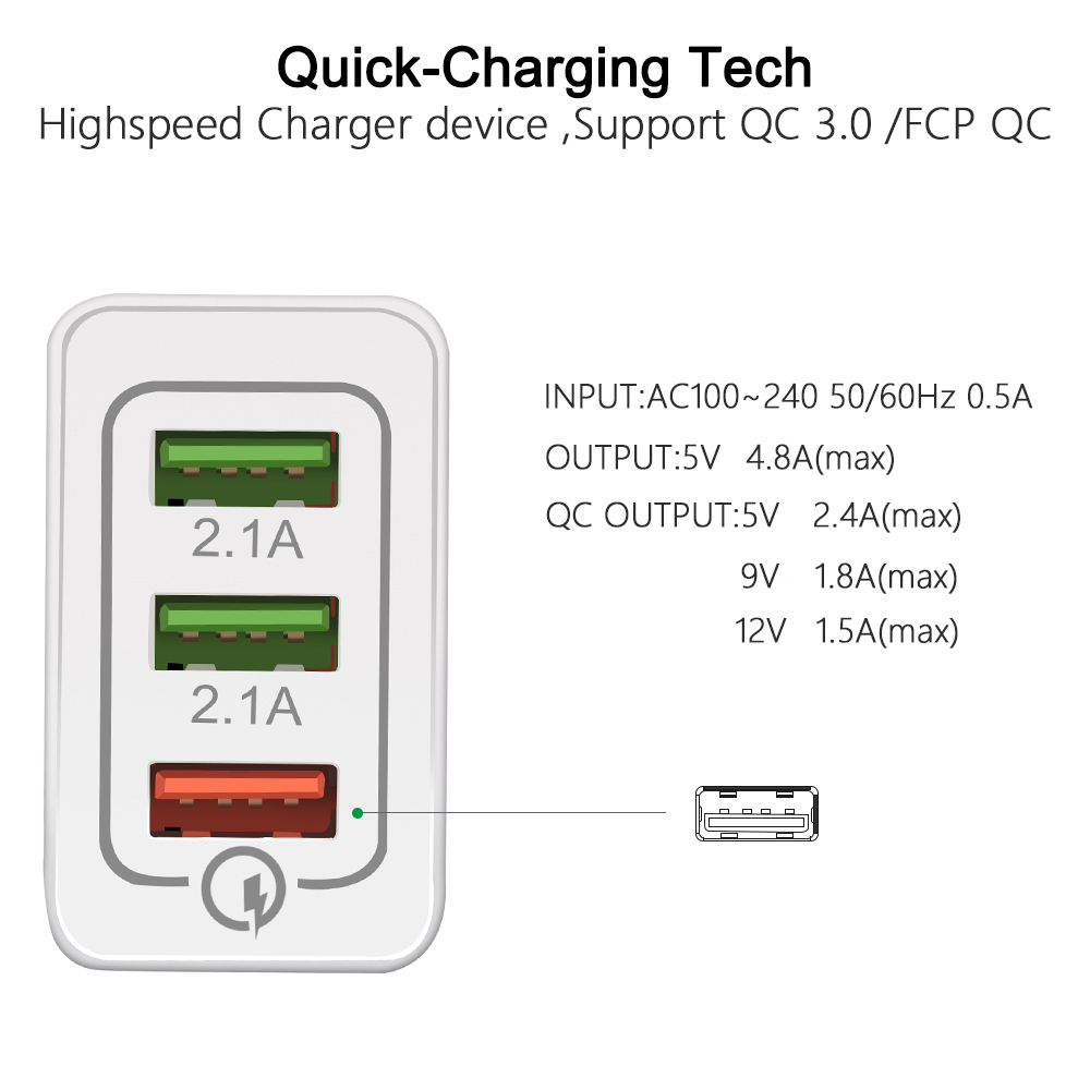 18W Quick Charge 3.0 3 Ports USB Charger With Micro Type-C IOS USB Cable Travel Wall Fast Charger Adapter Mobile Phone Charger