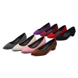 Image 5 - ANOVISHANA/женские туфли лодочки; модельные туфли лодочки; женские туфли лодочки из флока на высоком каблуке с острым носком; сезон весна осень; zapatosD049; размеры 47