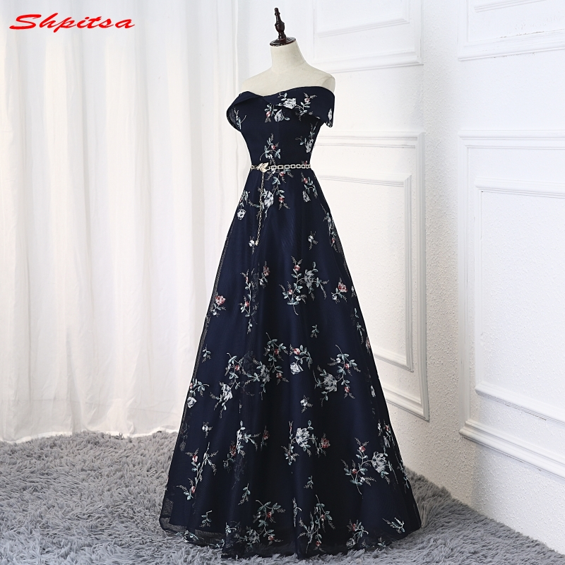 Navy Blue Long Evening Dresses for Women
