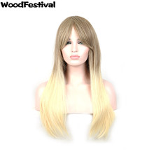 WoodFestival straight hair wig 70 cm blonde brown wig long mixed color wigs women synthetic hair wigs heat resistant