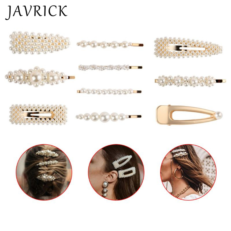 10 Pcs set Wild Simple Artificial Pearl Hairpin Set Bangs Hair Clip Women Girls BB Side Clips Hair Accessories Jewelry in Hair Jewelry from Jewelry Accessories