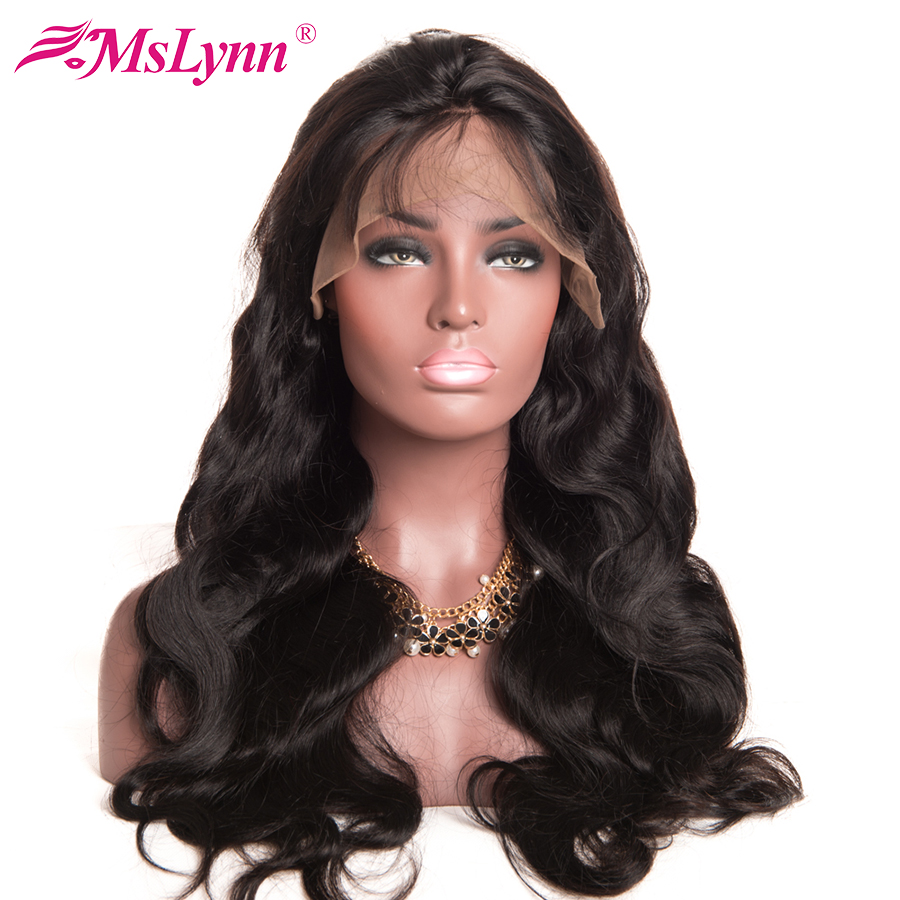 Mslynn Full Lace Wigs Human Hair With Baby Hair 8″-24″ Malaysian Body Wave Non Remy Hair Wig Natural Color