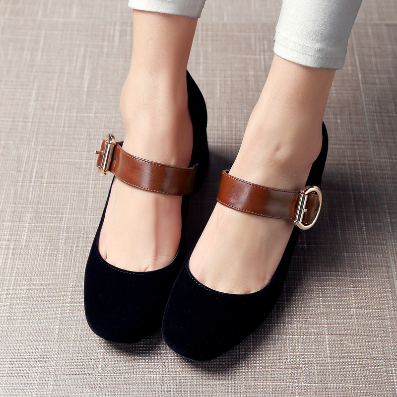 ФОТО Retro shoes women Pumps fashion belt buckle Mary Janes women shoes Square heel Buckle Strap Casual spring autumn shoes women