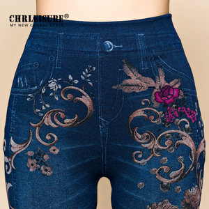 Image 3 - Женские джинсовые леггинсы CHRLEISURE, облегающие хлопковые джеггинсы с цветочным принтом, леггинсы с имитацией джинсовой ткани, на осень