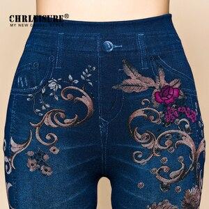 Image 3 - Chrleisure calças de brim femininas leggings outono flores impresso fino algodão mulher jeggings senhoras calças de brim falsas leggings leggings leggency