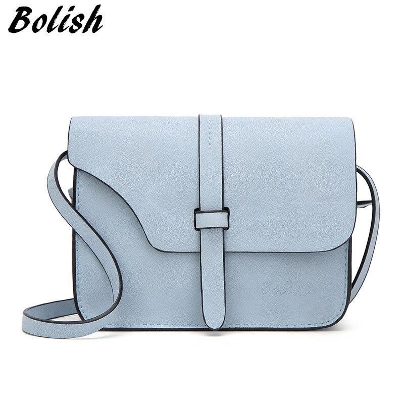 Bolish Nubuck Leather Women Bagファッションシングルストラップクロスボディバッグキャンディーカラーミニ電話バッグСумка
