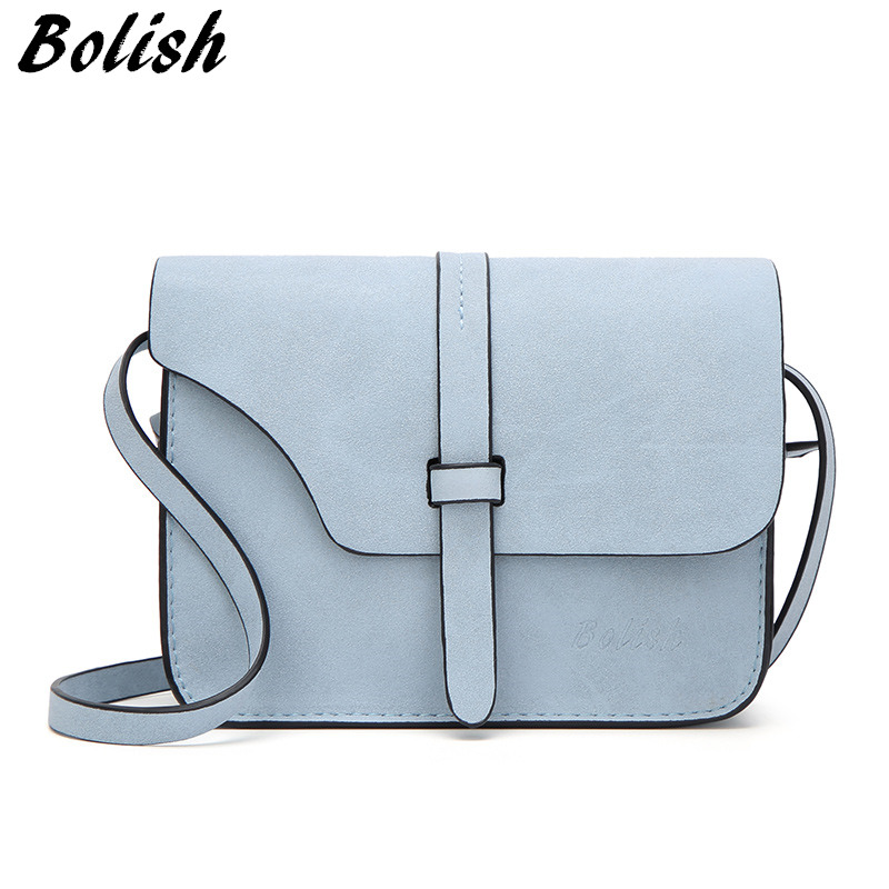 Bolish Nubuck Leather Women Bag Fashion Single Strap Crossbody Bag Candy Color Mini Phone Bag in Shoulder Bags from Luggage Bags