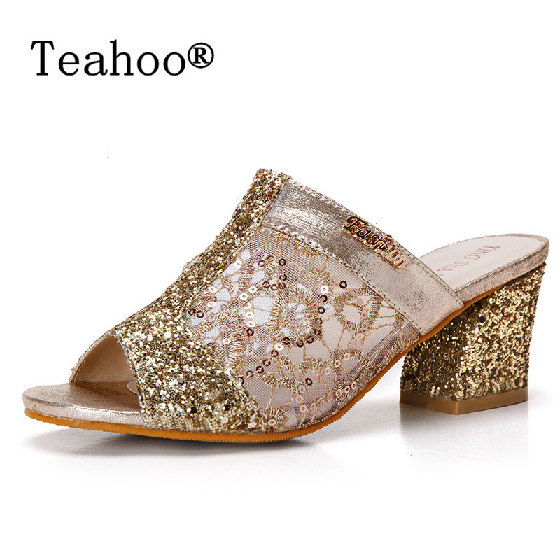 Rhinestone Peep Toe Heels Women Sandals Shoes Sexy Open Toe Wedge Slides Shoes Woman High Heels Sandals 2017 Platform Plus Size цены онлайн