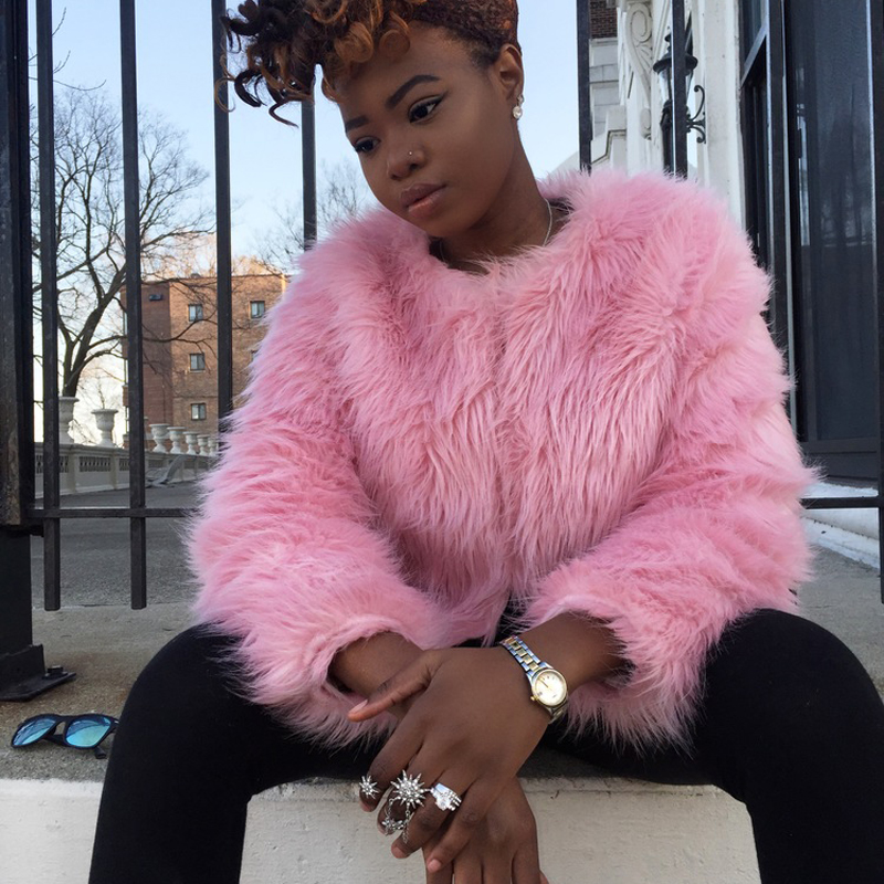 Girl Faux Fur Coat Pink Fur Outerwear Lady Winter Long Sleeve Fur ...