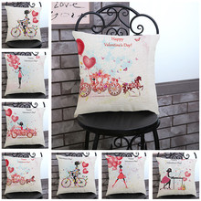 Happy Valentine's Day Flower Fairy Print Linen Car Sofa Decorative Throw Pillowcase Cushion Cover Home Decor Romantic Gift
